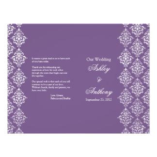Purple and White Damask Foldable Wedding Program