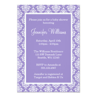Purple and White Damask Girl Baby Shower Card