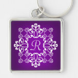 Purple and White Damask Monogrammed Key Chain