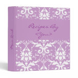 Purple and White Damask Recipe Cook Book Binder