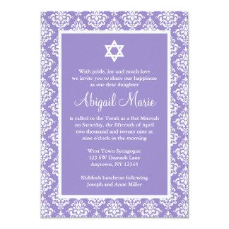 Purple and White Damask Star of David Bat Mitzvah Card