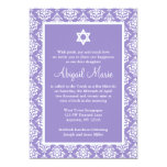 Purple and White Damask Star of David Bat Mitzvah Personalized Announcement