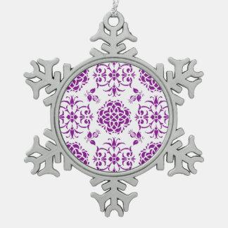 Purple and White Damask Style Pattern Ornaments