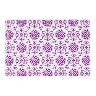 Purple and White Damask Style Pattern Placemat