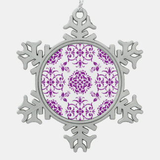Purple and White Damask Style Pattern Snowflake Pewter Christmas Ornament