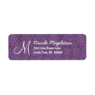 Purple and White Damask Ver 02 Wedding V672 Return Address Labels