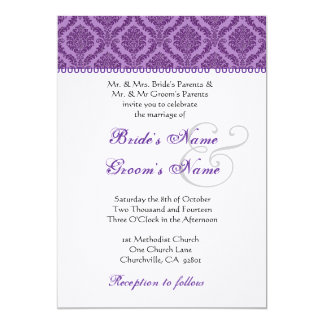 Purple and White Damask Wedding 5x7 Paper Invitation Card