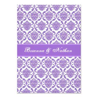 Purple and White Damask Wedding Invitation
