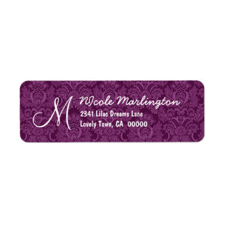 Purple and White Damask Wedding R672 Custom Return Address Label