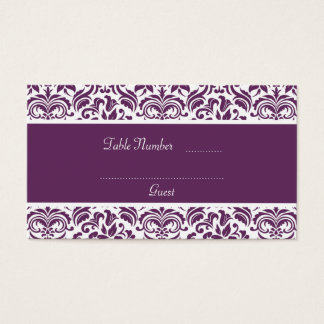 Purple and White Damask Wedding Table Place Cards