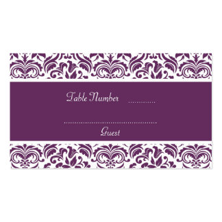 Purple and White Damask Wedding Table Place Cards Business Card Template