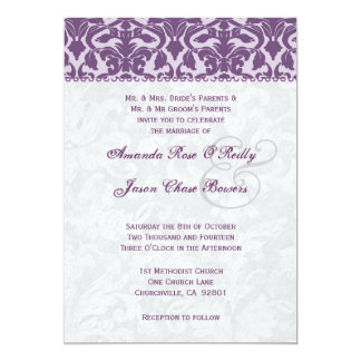 Purple and White Damask Wedding Template 5x7 Paper Invitation Card