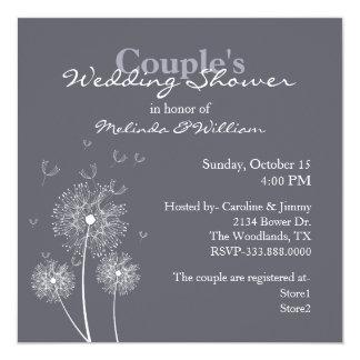 Purple and White Dandelion Couple's Wedding Shower Card