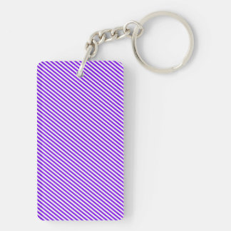 Purple and White Diagonal Stripes Keychain