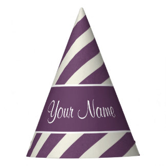 Purple and White Diagonal Stripes Party Hat