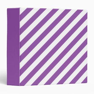 Purple And White Diagonal Stripes Pattern 3 Ring Binder