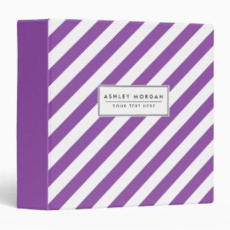Purple And White Diagonal Stripes Pattern Binder