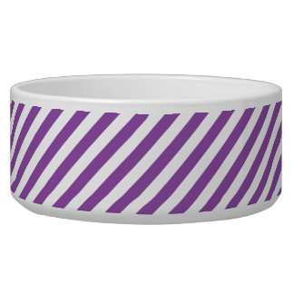 Purple And White Diagonal Stripes Pattern Bowl