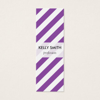 Purple And White Diagonal Stripes Pattern Mini Business Card
