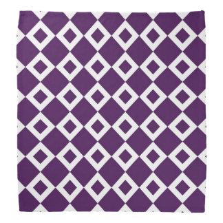 Purple and White Diamond Pattern Bandana