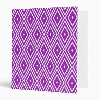 Purple and White Diamond Pattern 3 Ring Binders