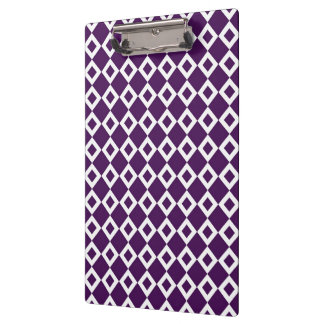 Purple and White Diamond Pattern Clipboard