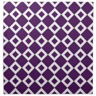 Purple and White Diamond Pattern Cloth Napkin