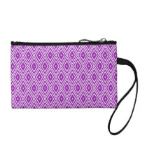 Purple and White Diamond Pattern Coin Purse