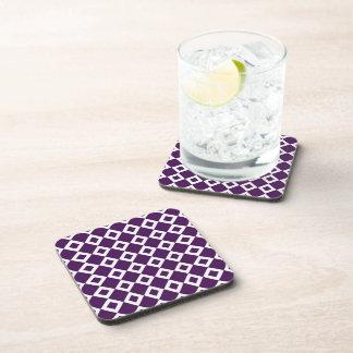 Purple and White Diamond Pattern Drink Coaster