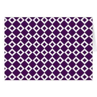 Purple and White Diamond Pattern Greeting Card