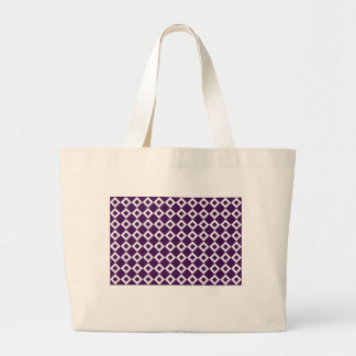 Purple and White Diamond Pattern Jumbo Tote Bag