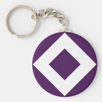 Purple and White Diamond Pattern Basic Round Button Keychain