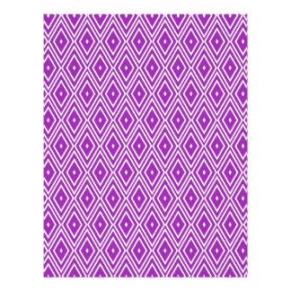 Purple and White Diamond Pattern Letterhead