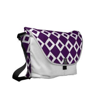 Purple and White Diamond Pattern Messenger Bags