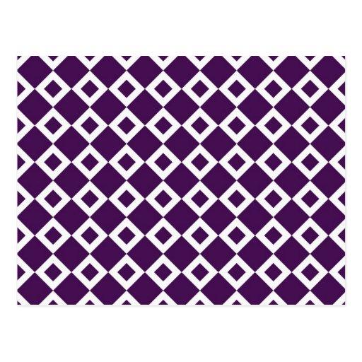 Purple and White Diamond Pattern Postcard