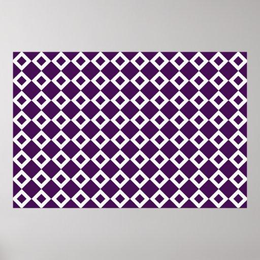 Purple and White Diamond Pattern Posters