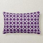 Purple and White Diamond Pattern Throw Pillows