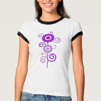 Purple and white digital art flowers top tshirts