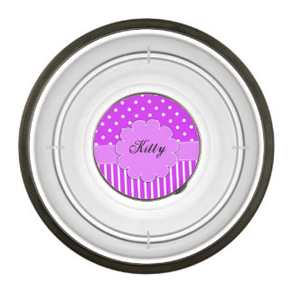 Purple and White Dots and Stripes Pet Bowl