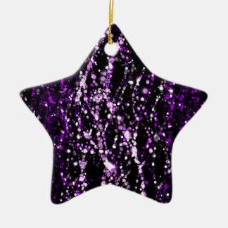 purple and white dots on black background ceramic ornament