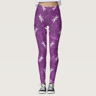 Purple and White Dragonflies Leggings