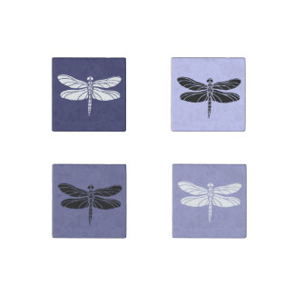 Purple and White Dragonflies Stone Magnet