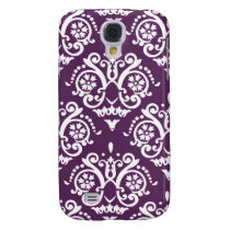 Purple and White Elegant Damask Galaxy S4 Cover