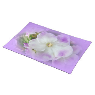Purple and White Fancy African Violets Cloth Place Mat
