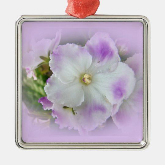 Purple and White Fancy African Violets Metal Ornament