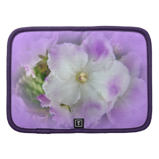 Purple and White Fancy African Violets Folio Planner
