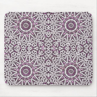 Purple and White Faux Lace Mousepad