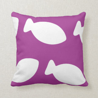 Purple And White Fish Pattern American MoJo Pillow