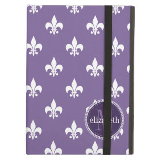 Purple and White Fleur de Lis Monogram Cover For iPad Air