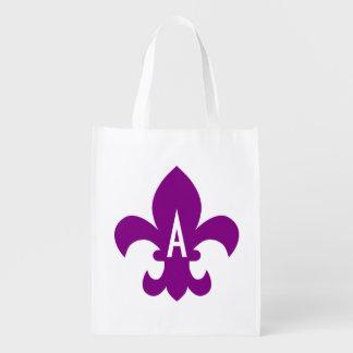 Purple and White Fleur de Lis Monogram Reusable Grocery Bags